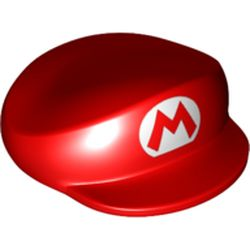 LEGO part 68891 Hat, Large, with Mario Logo Print in Bright Red/ Red