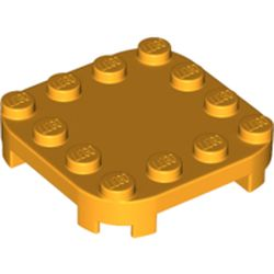 LEGO part 66792 Plate Round Corners 4 x 4 x 2/3 Circle with Reduced Knobs in Flame Yellowish Orange/ Bright Light Orange