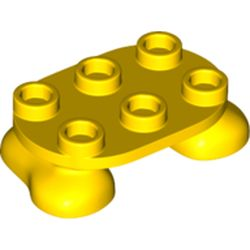 LEGO part 66859 Feet, 2 x 3 x 2/3 with 6 Studs on Top in Bright Yellow/ Yellow