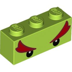LEGO part 68900 Brick 1 x 3 with Black Eyes and Bushy Red Eyebrows (Bowser Jr) Print in Bright Yellowish Green/ Lime