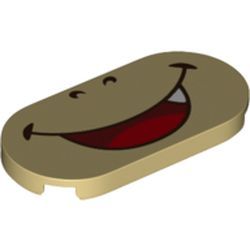 LEGO part 68901 Tile Round 2 x 4 with Smiling Mouth (Boswer Jr) Print in Brick Yellow/ Tan