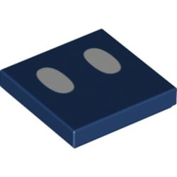 LEGO part 68905 Tile 2 x 2 with Groove with Two White Ovals (Bob-Omb Eyes) Print in Earth Blue/ Dark Blue