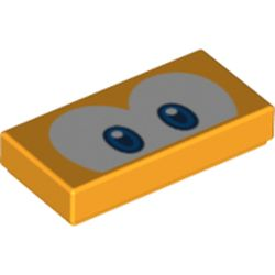 LEGO part 68907 Tile 1 x 2 with Groove and Blue Eyes (Eep Cheep) Print in Flame Yellowish Orange/ Bright Light Orange