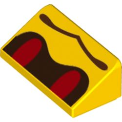 LEGO part 68909 Slope 30° 1 x 2 x 2/3 with Red Eyes and Wavy Mouth (Buzzy Beetle Face) Print in Bright Yellow/ Yellow