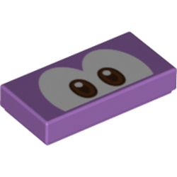 LEGO part 68916 Tile 1 x 2 with Groove and Brown Eyes (Urchin) Print in Medium Lavender