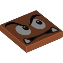 LEGO part 68917 Tile 2 x 2 with Groove with Goomba Face Looking Left Print in Dark Orange