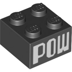 LEGO part 68918 Brick 2 x 2 with 'POW' Print in Black