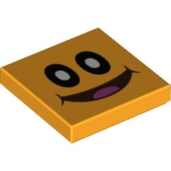 LEGO part 68923 Tile 2 x 2 with Groove with Smiling Pokey Face Print in Flame Yellowish Orange/ Bright Light Orange