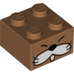 LEGO part 68924 Brick 2 x 2 with Monty Mole Face Print in Medium Nougat