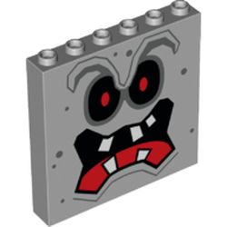 LEGO part 68926 Panel 1 x 6 x 5 with Whomp Face Print in Medium Stone Grey/ Light Bluish Gray
