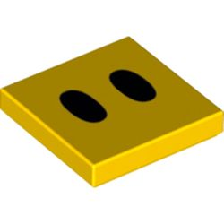 LEGO part 68927 Tile 2 x 2 with Two Black Ovals (Lava Bubble Eyes) Print in Bright Yellow/ Yellow