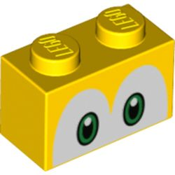 LEGO part 68935 Brick 1 x 2 with Green Eyes (Koopa Troopa) Print in Bright Yellow/ Yellow