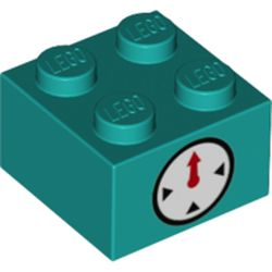 LEGO part 68936 Brick 2 x 2 with Clock Timer on Two Sides Print in Bright Bluish Green/ Dark Turquoise
