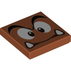 LEGO part 68938 Tile 2 x 2 with Groove with Goomba Face with High Furrowed Brow Print in Dark Orange