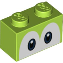 LEGO part 68946 Brick 1 x 2 with Blue Eyes (Yoshi) Print in Bright Yellowish Green/ Lime