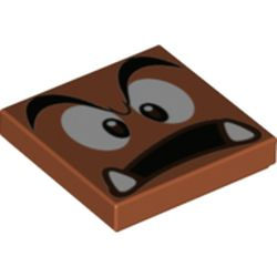 LEGO part 68947 Tile 2 x 2 with Groove and Goomba Face with Open Mouth Print in Dark Orange