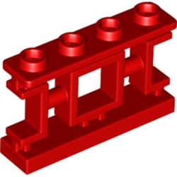 LEGO part  Fence 1 x 4 x 2 Ornamental Asian Lattice with 4 Studs in Bright Red/ Red