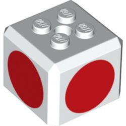 LEGO part 68967 Brick Special Cube with 2 x 2 Studs on Top, and Red Circles Print in White