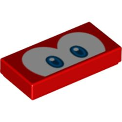 LEGO part 68971 Tile 1 x 2 with Groove and Blue Eyes (Cheep Cheep) Print in Bright Red/ Red