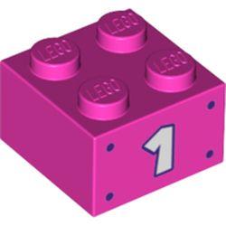 LEGO part 68973 Brick 2 x 2 with '1' Print in Bright Purple/ Dark Pink