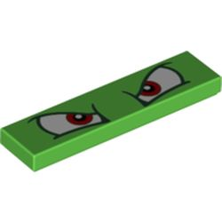 LEGO part 68981 Tile 1 x 4 with Groove and Red Eyes (Bowser) Print in Bright Green