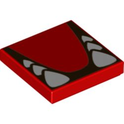 LEGO part 68983 Tile 2 x 2 with Groove and White Teeth and Tongue Print in Bright Red/ Red