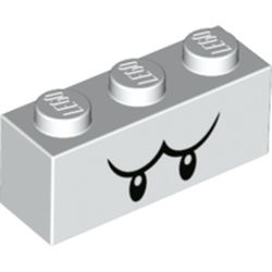 LEGO part 68984 Brick 1 x 3 with Black Eyes and Eyebrows (Boo) Print in White