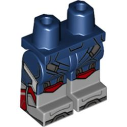 LEGO part 21019c00pat021pr0001 Legs and Hips with Light Bluish Gray Boots Pattern and Straps, Dark Bluish Grey Toes, Red Knee Caps print in Earth Blue/ Dark Blue