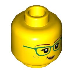 LEGO part 69049 Minifig Head Freya McCloud, Green Glasses, Small Smile / ???? Print in Bright Yellow/ Yellow