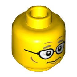 LEGO part 69050 Minifig Head Mayor Fleck, Glasses, Dark Tan Eyebrows, Neutral / ???? Print in Bright Yellow/ Yellow