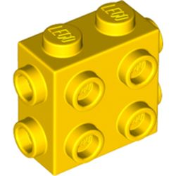 LEGO part 67329 Brick Special 1 x 2 x 1 2/3 with Eight Studs on 3 Sides in Bright Yellow/ Yellow