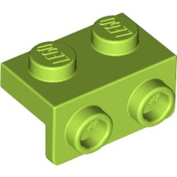 LEGO part 99781 Bracket 1 x 2 - 1 x 2 in Bright Yellowish Green/ Lime