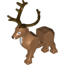 LEGO part 69060 Animal, Reindeer with Dark Brown Antlers, White Front in Medium Nougat