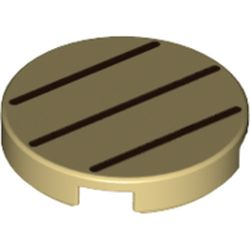 LEGO part 69084 Tile Round 2 x 2 with Bottom Stud Holder with Three Dark Brown Lines Print in Brick Yellow/ Tan