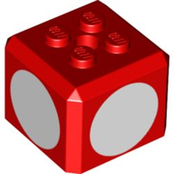 LEGO part 69085 Brick Special Cube with 2 x 2 Studs on Top, and White Circles Print in Bright Red/ Red