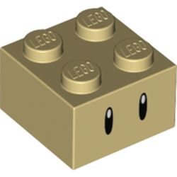 LEGO part 69086 Brick 2 x 2 with Thin Black Eyes Print in Brick Yellow/ Tan