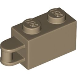 LEGO part 34816 Brick Special 1 x 2 with Vertical Closed Handle on Edge in Sand Yellow/ Dark Tan