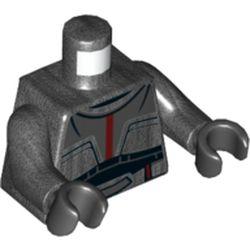 LEGO part 973c47h03pr5227 MINI UPPER PART, NO. 5227 in Titanium Metallic/ Pearl Dark Gray