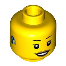 LEGO part 69148 Minifig Head, Thin Eyebrows, Eyelashes, Smile, and Hearing Aid Print in Bright Yellow/ Yellow