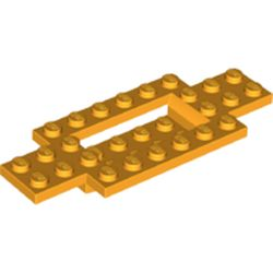 LEGO part 30029 Vehicle Base 4 x 10 x 2/3 with 4 x 2 Recessed Center with Smooth Underside in Flame Yellowish Orange/ Bright Light Orange