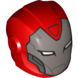 LEGO part  Minifig Helmet with Armor Plates and Ear Protectors with Silver Face and White Rectangular Eyes Print (Pepper Potts) in Bright Red/ Red