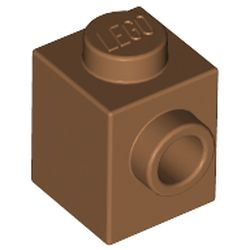 LEGO part  Brick Special 1 x 1 with Stud on 1 Side in Medium Nougat