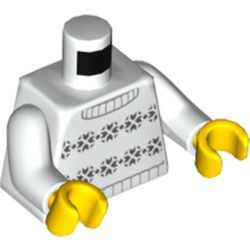 LEGO part 76382 Torso with Dark Bluish Grey Sweater print, White Arms, Yellow Hands in White