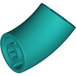 LEGO part  Brick Round 1 x 1 diameter Tube with 45 Degree Elbow(2 x 2 x 1) and Axle Holes(Crossholes) at each end in Bright Bluish Green/ Dark Turquoise