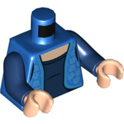 LEGO part  Minifig Torso Blue Vest, Bright Light Blue Trim, Roses, Dark BLue Shirt in Bright Blue/ Blue
