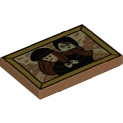 LEGO part  Tile 2 x 3 with Lily & James Potter Photo print in Medium Nougat