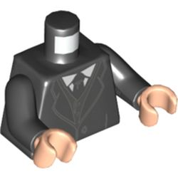 LEGO part  Minifig Torso Jacket, Black Tie, White Shirt in Black