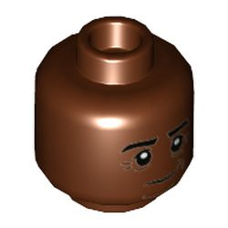 LEGO part  Minifig Head Kingsley Shacklebolt, Dark Brown Contours, Grin in Reddish Brown