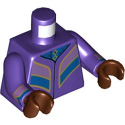 LEGO part  Minifig Torso Robe with Gold Trim, Medium Lavender/Blue Panels in Medium Lilac/ Dark Purple