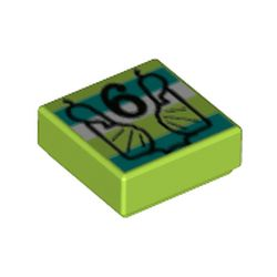 LEGO part  Tile 1 x 1 with Black 6, Dark Turquoise/White Stripes print in Bright Yellowish Green/ Lime
